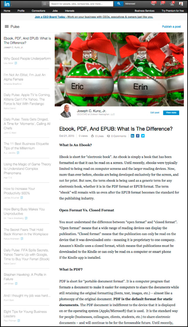 Linkedin - Ebook, PDF, And EPUB: What Is The Difference?