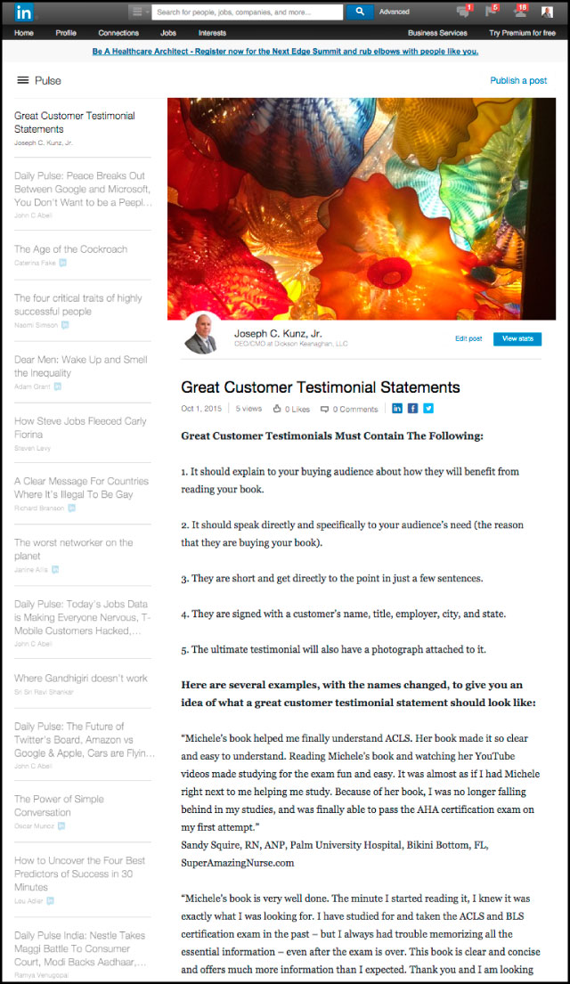 Linkedin - Great Customer Testimonial Statements