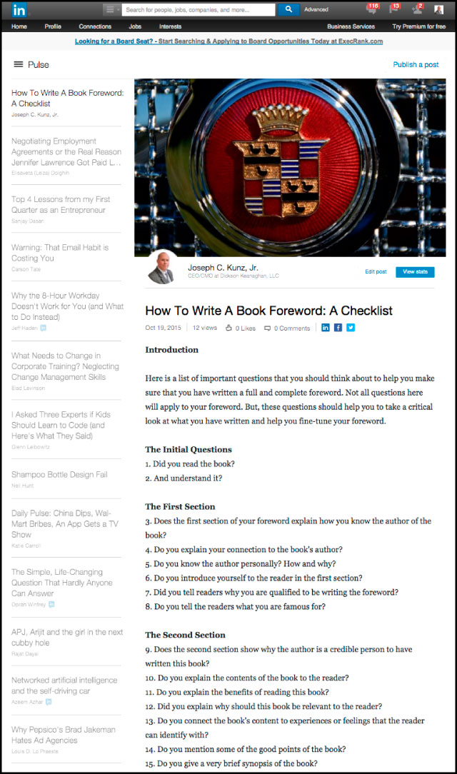 Linkedin - How To Write A Book Foreword: A Checklist