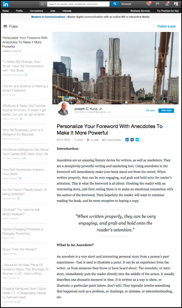 Linkedin - Personalize Your Foreword With Anecdotes To Make It More Powerful