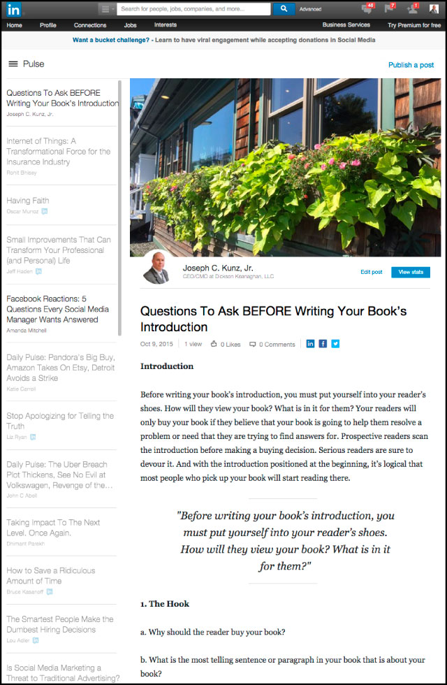 Linkedin - Questions To Ask BEFORE Writing Your Book's Introduction