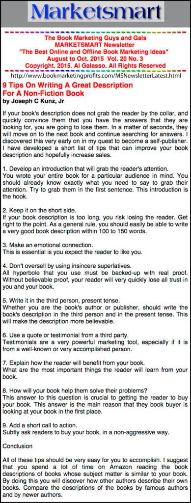 BookMarketingProfits.com - 9 Tips On Writing A Great Description For A Non-Fiction Book