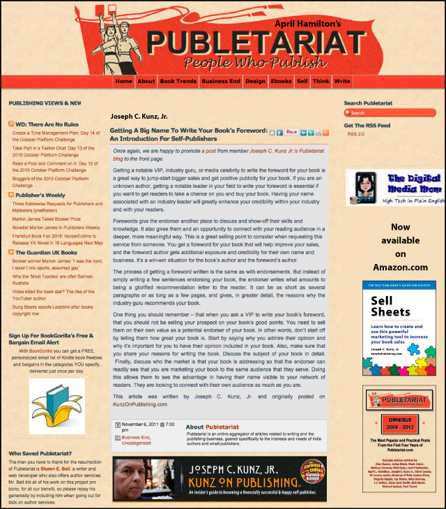 Publetariat - Getting A Big Name To Write Your Book's Foreword: An Introduction For Self-Publishers