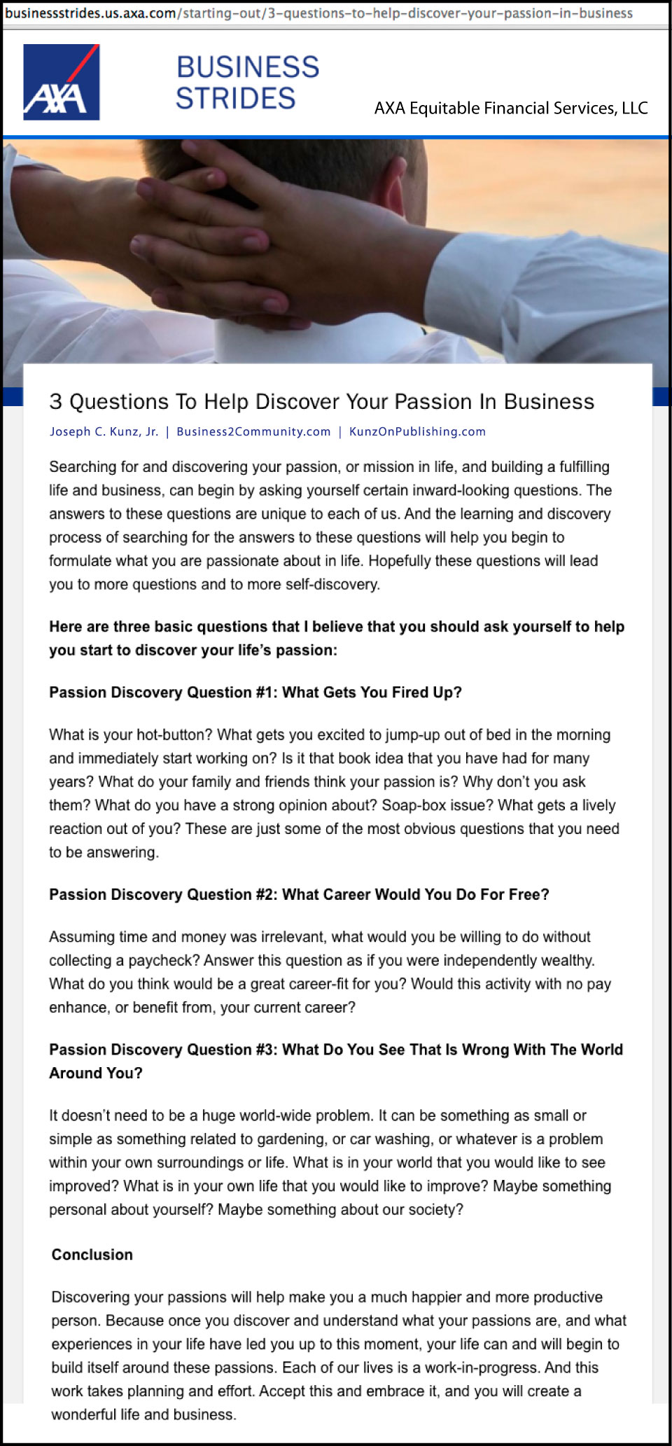 AXA - Business Strides - 3 Questions To Help You Discover Your Passion In Business, by Joseph C. Kunz, Jr.