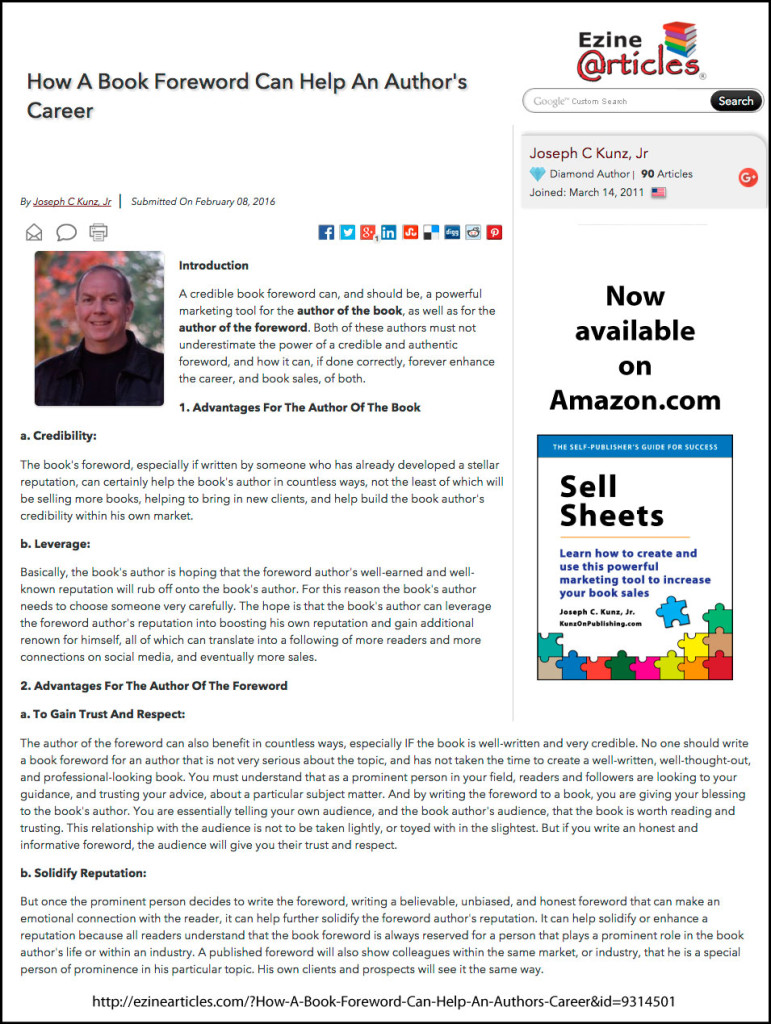 EzineArticles.com - How A Book Foreword Can Help An Author's Career, by Joseph C. Kunz, Jr.