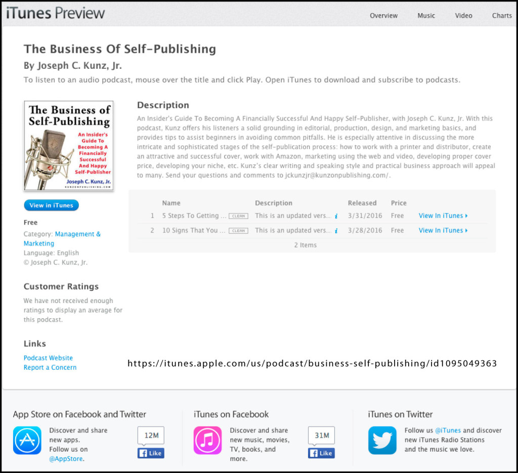 The Business Of Self-Publishing Podcast On iTunes, By Joseph C. Kunz, Jr.