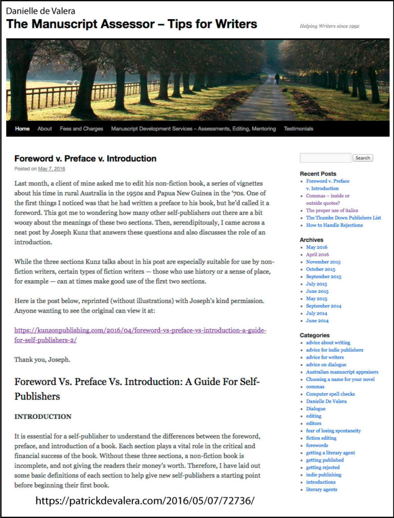 "Thank you to Danielle de Valera for posting and linking to my post ""Foreword v. Preface v. Introduction"" on her great blog ""The Manuscript Assessor"""