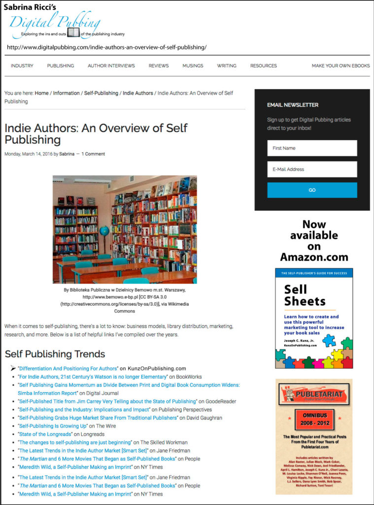 "Thank you to Sabrina Ricci of DigitalPubbing.com for featuring my blog post ""Differentiation And Positioning For Authors"" on her blog."