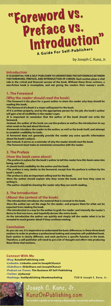 Foreword vs Preface vs Introduction (Infographic) by Joseph C. Kunz, Jr.