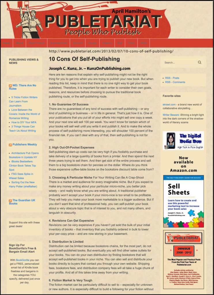 Publetariat.com - 10 Cons Of Self-Publishing, by Joseph C. Kunz, Jr.