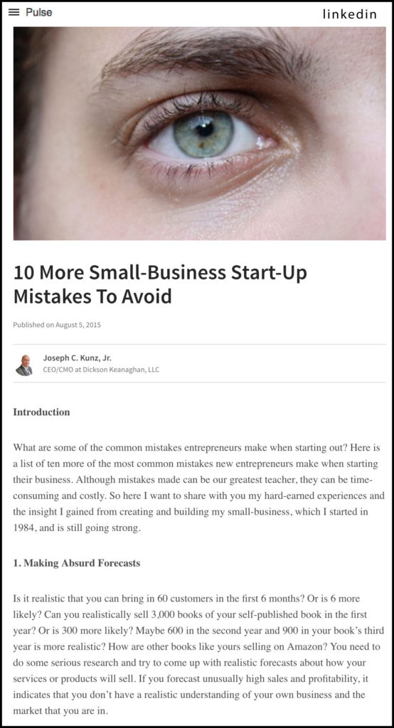 LinkedIn - 10 More Small-Business Start-Up Mistakes To Avoid