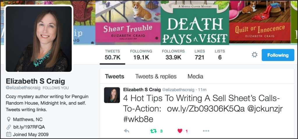 Thank you to best-selling author Elizabeth Spann Craig for sharing and linking to my post.