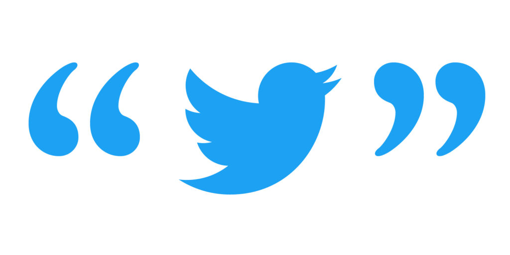 Twitter bird with quote marks