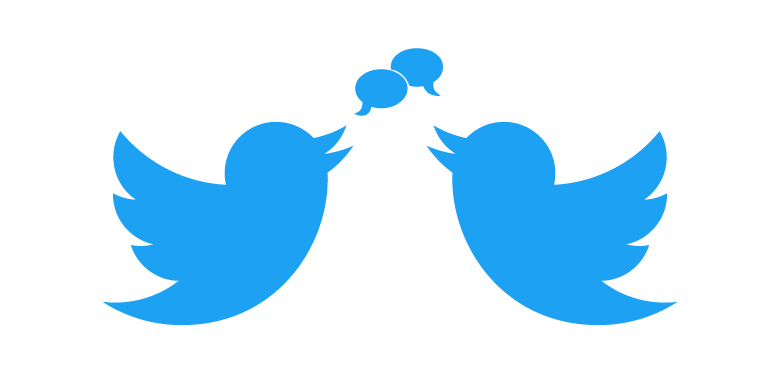 Twitter bird with text bubbles