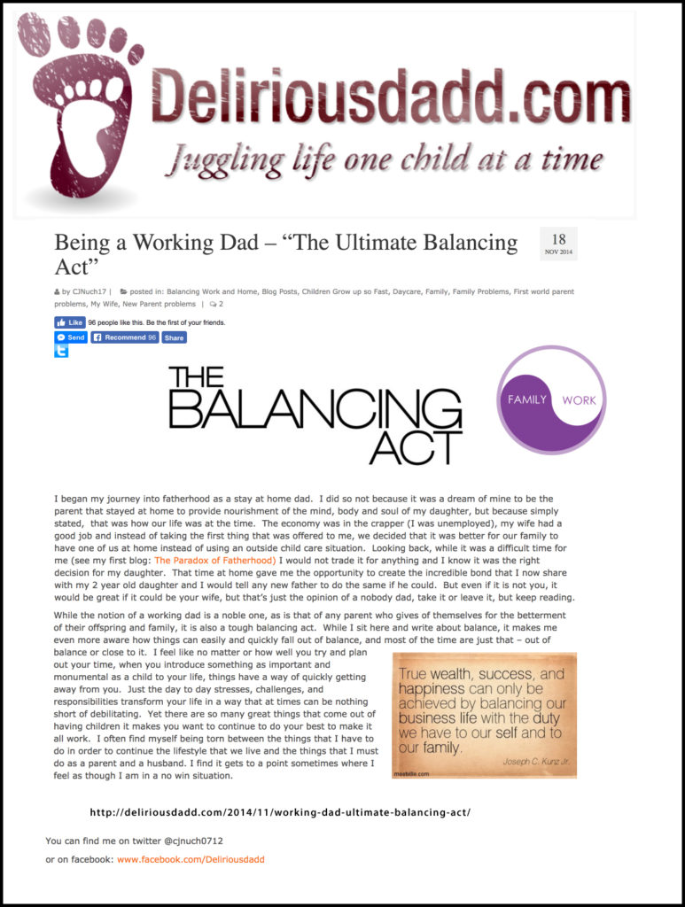 "Thank you to CJ of Deliriousdadd.com for sharing my quote ""True wealth, success, and happiness can only be achieved by balancing our business life with the duty we have to our self and to our family."""