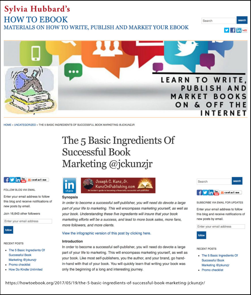 "Thank you to Sylvia Hubbard for sharing my post ""The 5 Basic Ingredients Of Successful Book Marketing"" on her blog HowToEbook.org/."
