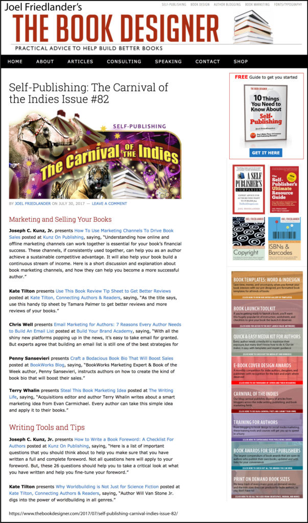 Thank you to Joel Friedlander of TheBookDesigner.com for linking to this article from his blog Carnival Of The Indies #82
