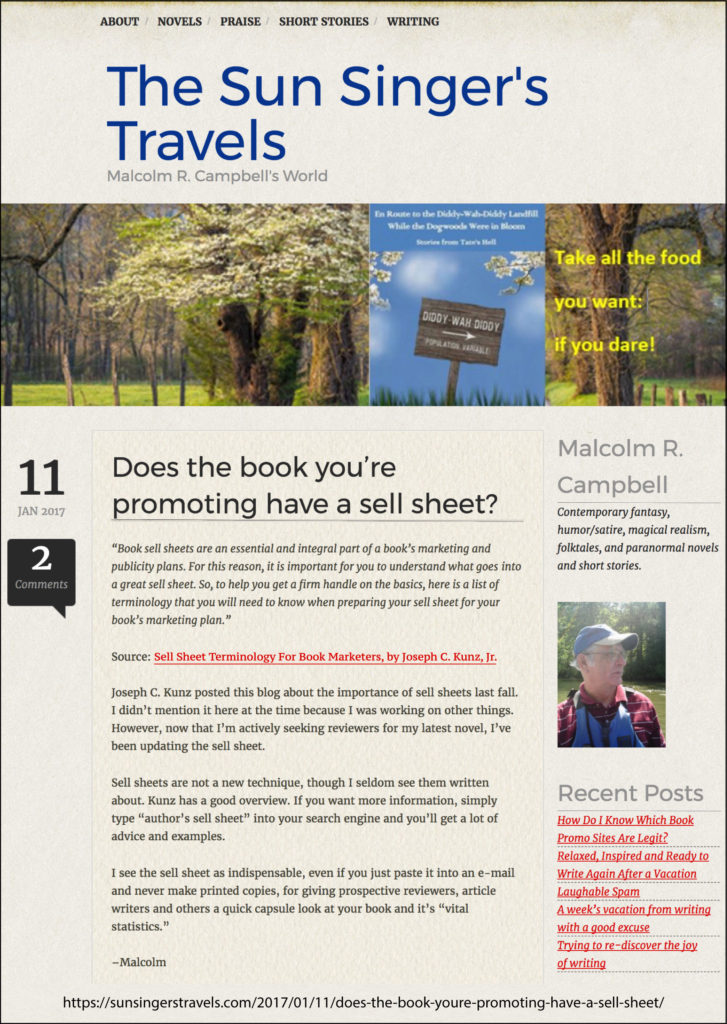 Thank you very much to author Malcolm R. Campbell for quoting my blog post.