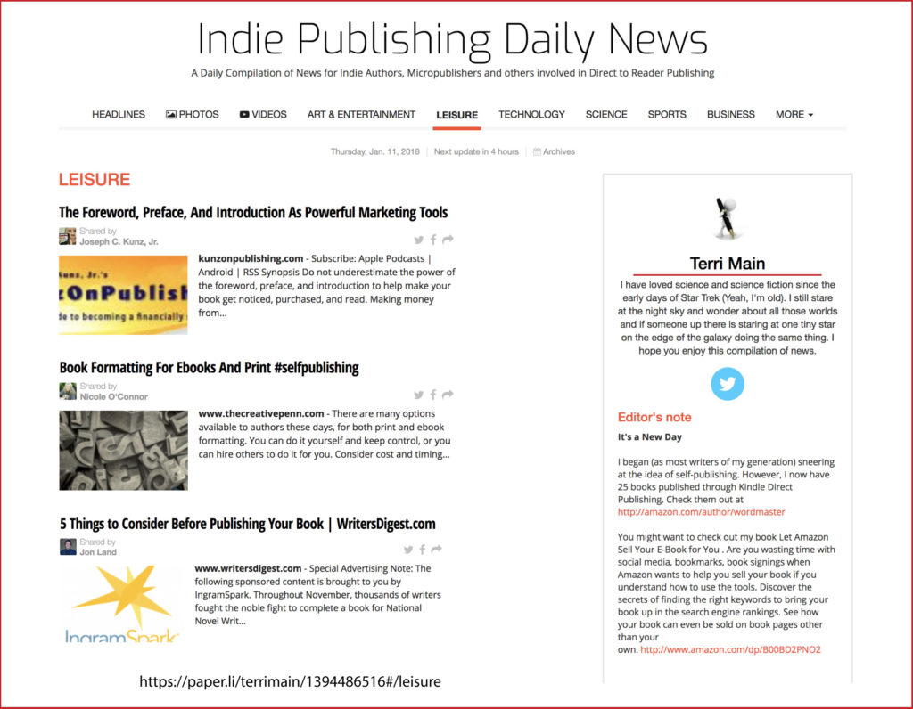Thank you very much to best selling author Terri Main, editor of the Indie Publishing Daily News, for sharing my post.