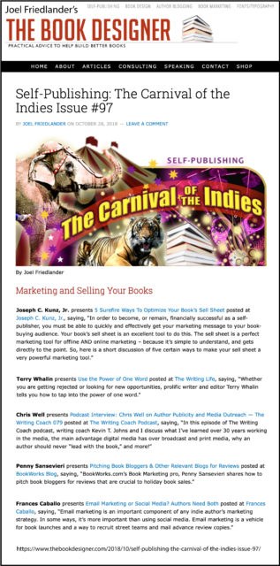 Thank you to Joel Friedlander of TheBookDesigner.com for linking to my blog post from his blog Carnival Of The Indies #97