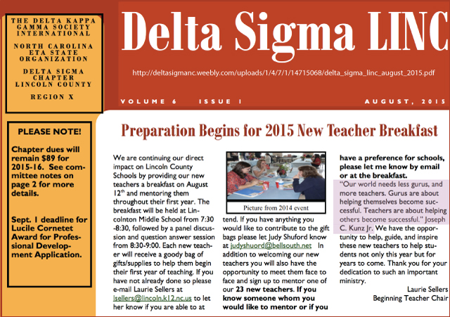 Thank you very much to Laurie Sellers, of the Lincoln County Chapter of Delta Sigma, for sharing my quote about gurus and teachers.