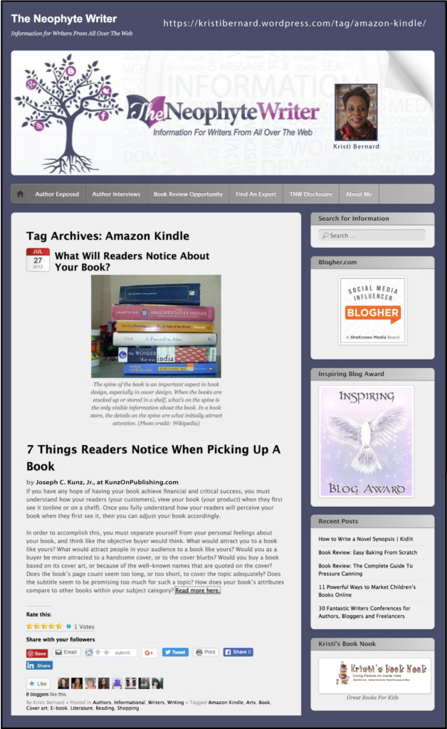 "Thank you very much to author and blogger Kristi Bernard, of KristiBernard.WordPress.com, for sharing my post ""7 Things Readers Notice When Picking Up A Book."""