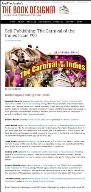 Thank you to Joel Friedlander of TheBookDesigner.com for linking to my blog post from his blog Carnival Of The Indies #99