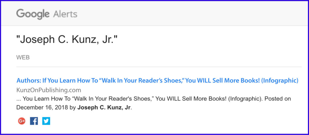 "Google Alerts for: Authors: If You Learn How To ""Walk In Your Reader's Shoes"" You Will Sell More Books (Infographic)"