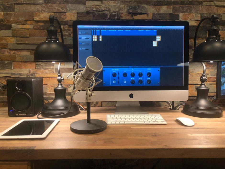 My podcasting equipment set up in my home office.