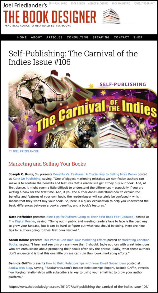 Thank you to Joel Friedlander of TheBookDesigner.com for linking to my blog post from his blog Carnival Of The Indies #106