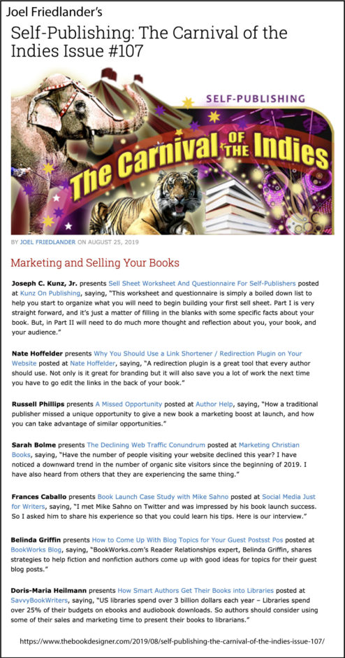 Thank you to Joel Friedlander of TheBookDesigner.com for linking to my blog post from his blog Carnival Of The Indies #107