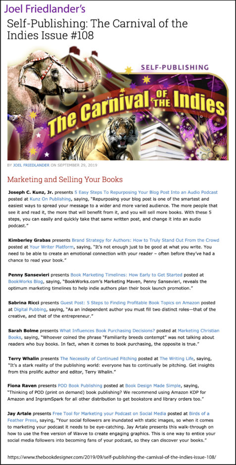 Thank you to Joel Friedlander of TheBookDesigner.com for linking to my blog post from his blog Carnival Of The Indies #108