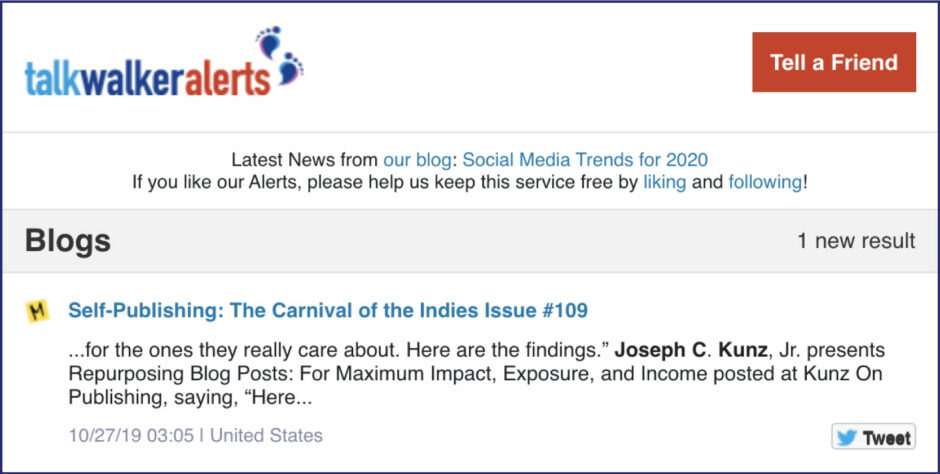 Talk Walker Alerts Carnival of the Indies 109