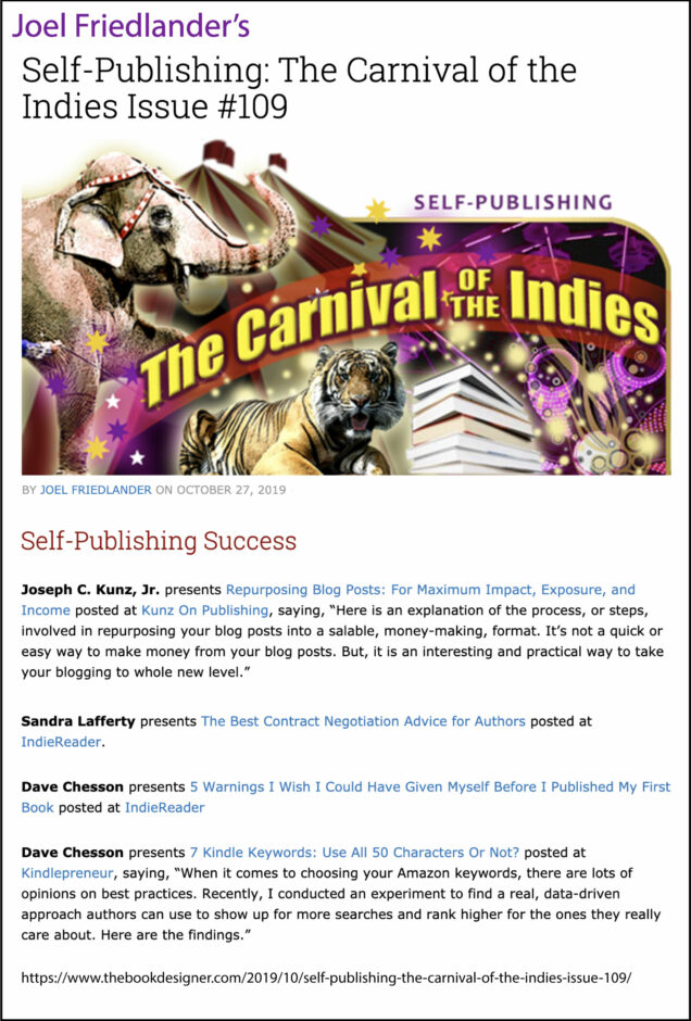 Thank you to Joel Friedlander of TheBookDesigner.com for linking to my blog post from his blog Carnival Of The Indies #109