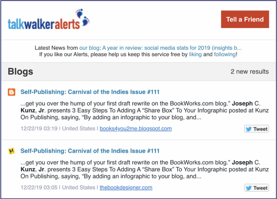 Talkwalker Alerts for Joel Friedlander's Carnival of the Indies #111