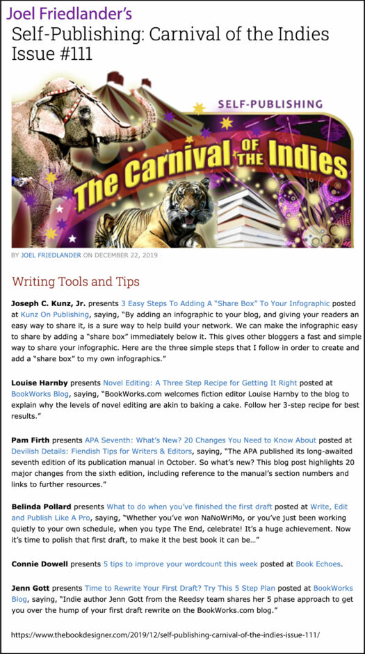 Thank you to Joel Friedlander of TheBookDesigner.com for linking to my blog post from his blog Carnival Of The Indies #111