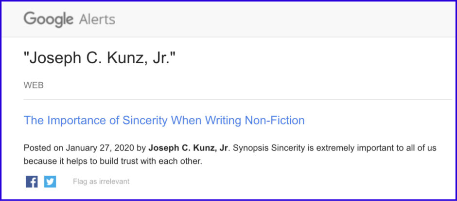 Google Alerts: The Importance of Sincerity When Writing Non-Fiction