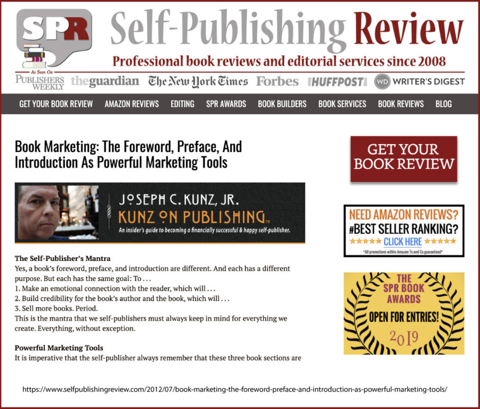 Self-Publishing Review: Book Marketing: The Foreword, Preface, And Introduction As Powerful Marketing Tools, by Joseph C. Kunz, Jr.