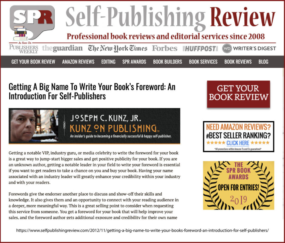 Self-Publishing Review: Getting A Big Name To Write Your Book's Foreword, by Joseph C. Kunz, Jr.