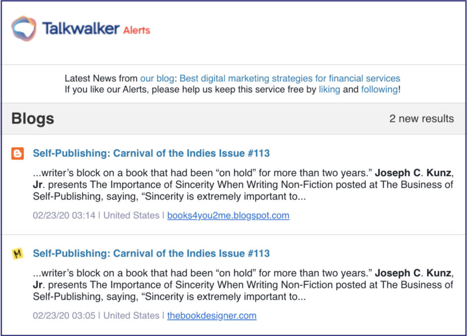 Talkwalker Alerts for Joel Friedlander's Carnival of the Indies #113