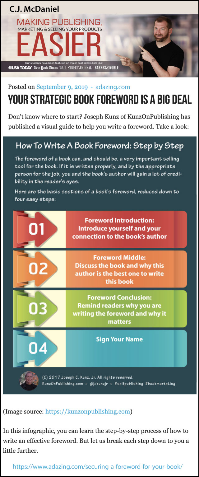 Thank you very much to book design and book marketing expert C.J. McDaniel, of Adazing.com, for sharing my infographic.