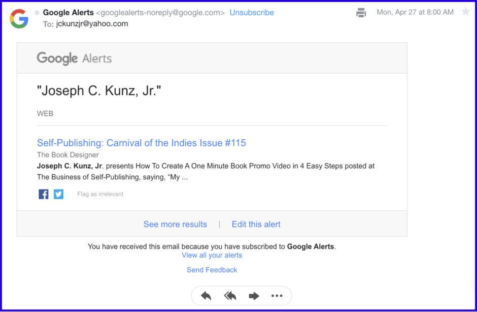 Google Alerts for Joel Friedlander's Carnival of the Indies #115