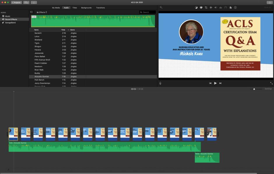 ACLS QA book iMovie screen shot