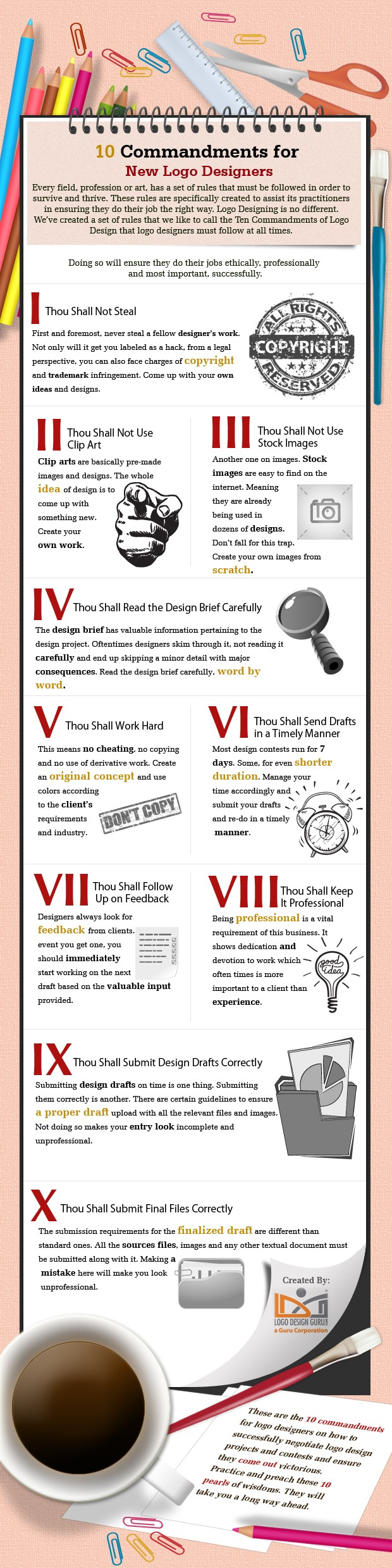 10 Commandments for New Logo Designers (Infographic)