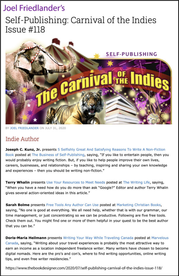 Thank you to Joel Friedlander of the BookDesigner.com for linking to this article from his website Carnival Of The Indies #118