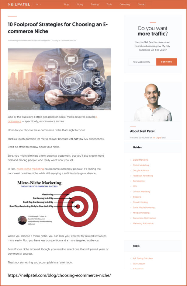 Thank you very much to marketing expert and author Neil Patel for sharing my infographic on his blog NeilPatel.com