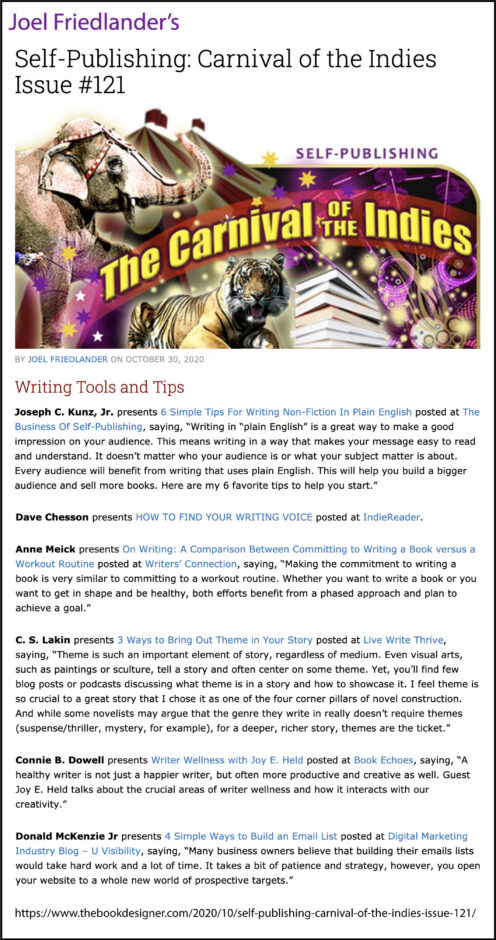 Thank you to Joel Friedlander of the BookDesigner.com for linking to this article from his website Carnival Of The Indies #121
