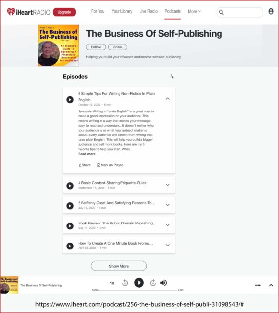 The Business of Self-Publishing podcast is now available on iHeart Radio.