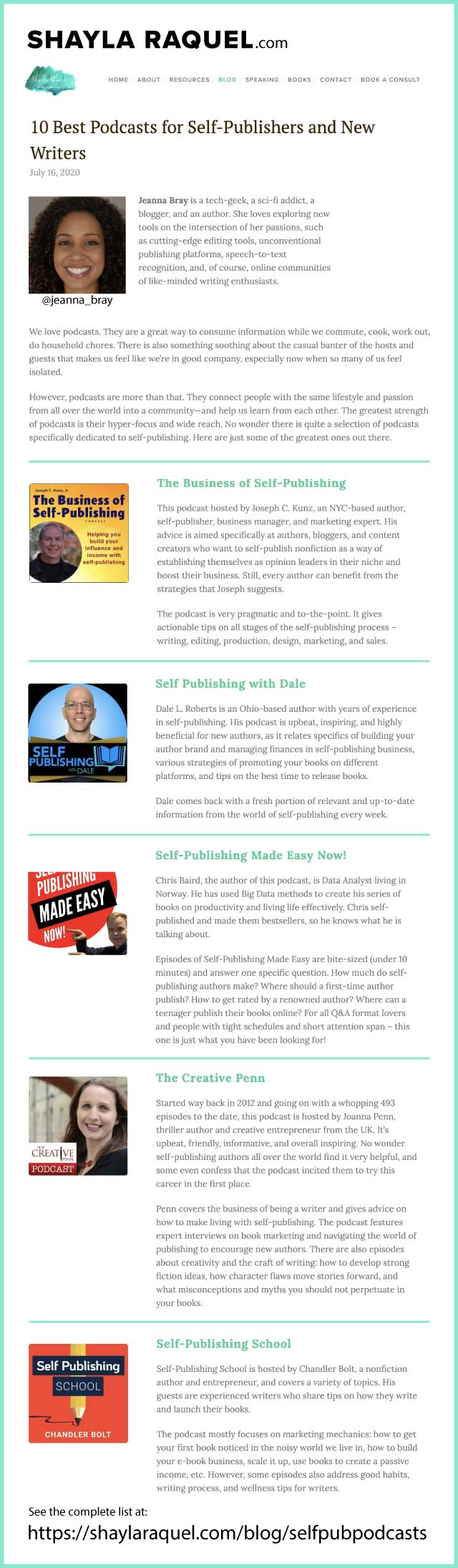 Thank you to Jeanna Bray for including my podcast on her list of 10 Best Podcasts for Self-Publishers and New Writers for 2020